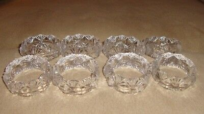 Set of 8 Gorgeous Crystal Clear Glass Napkin Rings