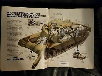Vintage 1980s US Army Recruiting Ad Tank Diagram Advertising Print Ad Art