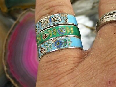 Vintage 1930's Enamel Butterfly Fish & Sterling Silver Band RING Lot of 3 Sz 8