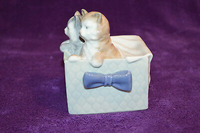 Vintage NAO by Lladro Two Kittens in Blue Bow Basket