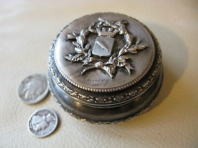 Antique Victorian Silver Fish Crest Compact Powder Snuff Patch Box Case ANNECY