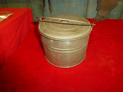 """Rare Exc Civil War Era Soldier's Camp 5 1/2 """" Ration Tin With Lid & Handle!"""