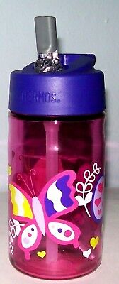 NEW 12oz UNBREAKABLE TRITAN Hydration Water Straw-Bottle Thermos Brand Butterfly