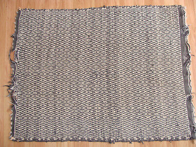 Delightful Antique Navajo Indian Wool Rug Textile Geometric Diamond Twill 33X43""