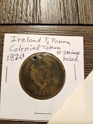 Ireland 1/2 penny Colonial Token 10 strings - holed