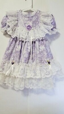 Vintage Style Girls Lavender White Ruffle Lace SZ 2T Toddler Dress