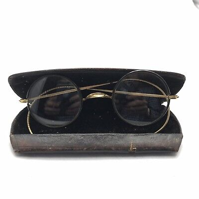 Vintage Real Fit Optical Eyeglasses Golden Wire Round Black Rim Antique
