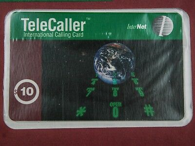 1993 TeleCaller International Calling Card Planet Earth $10 Sealed