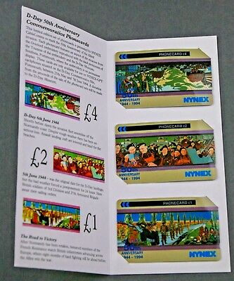 D-Day 50th Anniversary NYNEX Commemorative Phone Card Set of 3 Unused 7 Pounds