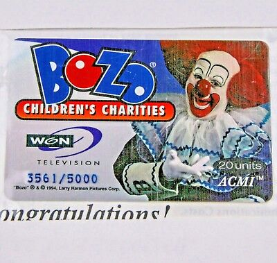 Bozo The Clown 20 Unit Phone Card Bozo Children's Charities: WGN TV Sealed