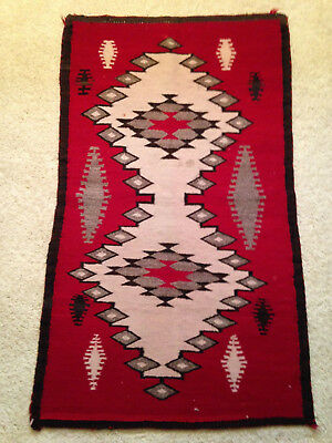 "Navajo Rug Native American Textile 44 1/2"" X 26 1/2"" Vintage Condition Jw"