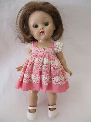 VINTAGE EARLY 1950s HARD PLASTIC STRUNG VOGUE GINNY DOLL w DRESS SHOES TLC WIG