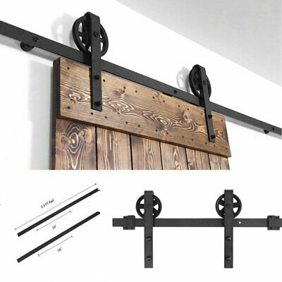 6 FT Sliding Barn Door Hardware Carbon Steel Track Roller Kit Set Black