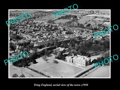 OLD LARGE HISTORIC PHOTO OF TRING ENGLAND, AERIAL VIEW OF THE TOWN c1950 1