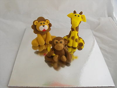Cake Toppers Edible Jungle Safari Animals Giraffe, Lion and Monkey set of 3