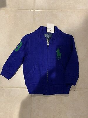 Polo Ralph Lauren Baby Infant Boy Sz 9 Mths Zip Sweater Pullover Purple NWT