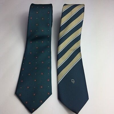 Two Christian Dior Men s Silk Classic Tie Neck Cravates Package Lot Elegant  USA 2107a7c48b9