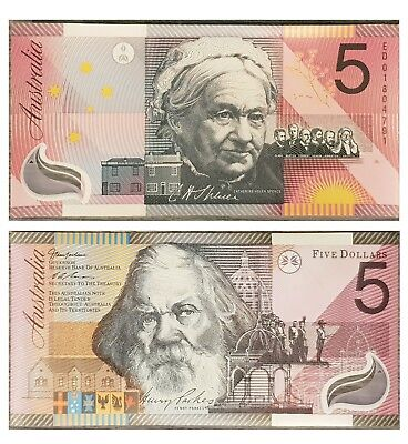 Australia 2001 Federation $5 Five Dollars Uncirculated Polymer Banknotes UNC
