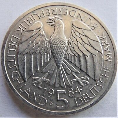 1984 D GERMANY FEDERAL REPUBLIC, 5 MARK Customs Union, grading UNCIRCULATED.
