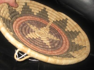 Hopi Wedding Coil Basket Native American Indian Hand Woven Bowl Tri-Clr Low Strt