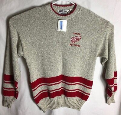 Detroit Red Wings Mens Large Grey NHL Vintage Hockey Sweater NWT Headline Sports