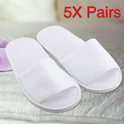 5 pairs SPA HOTEL GUEST SLIPPERS OPEN TOE TOWELLING DISPOSABLE TERRY STYLE US