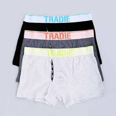 Mens Tradie 3 Pack Fly Front Boxer Shorts Fitted Trunk Mixed Colours Reflect SK3
