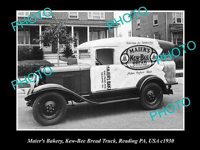 OLD LARGE HISTORIC PHOTO OF MAIERS BAKERY BREAD TRUCK, READING PA, USA c1930