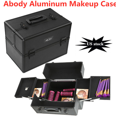 Aluminum Rolling Makeup Cosmetic Train Case 2-Wheeled Box Trolley Lockable US