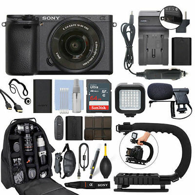 Sony Alpha a6500 Mirrorless Digital Camera with 16-50mm Lens+ 64GB Pro Video Kit