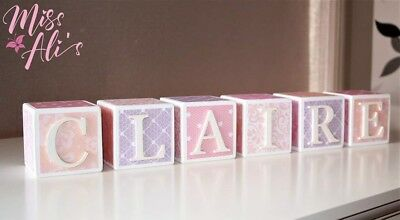 Personalised Wooden Name Blocks, Pastel Lace, Nursery Decor