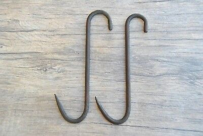 2p Vtg large blacksmith forged S meat butcher hanging hook farm decor tool 10.5""
