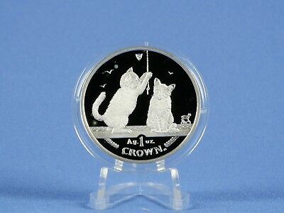 Isle of Man 1 Crown 2001 , Cats , 1 Oz 999 Silber *PP/Proof* ( 4451)