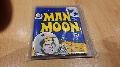 1960s MAN ON THE MOON  5c SEALED  WAX PACK WRAPPER, GUM. RARE