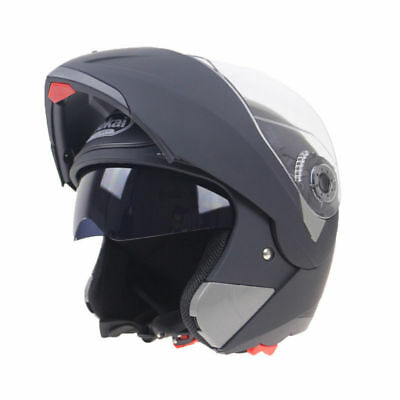 Crash Helmet Motorcycle Motorbike Full Face Inner Dual Visor Normal Flip Up H