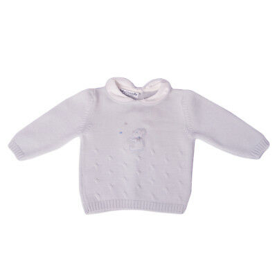 BABY GRAZIELLA Merino Wool Jumper Size 3M Bear Patch Made in Italy RRP €100