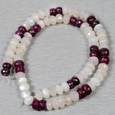 "16"" /7-8mm Round Natural Ruby Moonstone Beads Strand Loose Gemstone for Jewelry"