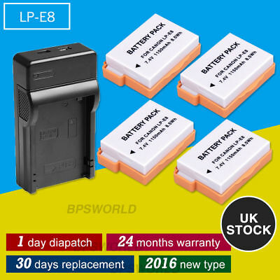 4 x Battery+USB Charger For Canon LP-E8 LPE8 EOS 700D 650D 600D 550D T4I T3I UK