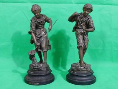 A Good Sized Pair Of French Antique Spelter Figures Of A Boy & Girl Fishing