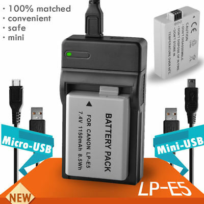 1150mAh Battery+USB Charger for Canon LP-E5 EOS 500D 450D 1000D Xsi UK RML