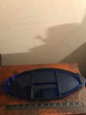 Vintage Cobalt Blue Glass Handled Divided Tray Rare Style 1930s Dresser Tray
