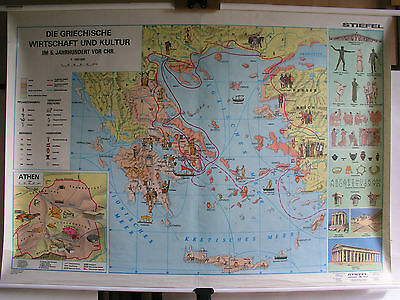 Schulwandkarte Wall Map Map Greek Economy Culture Athens 157x109 Map