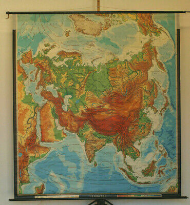 Beautiful Old Small Schulwandkarte Wall Map Asian 122x111 ab 1950 10mio from