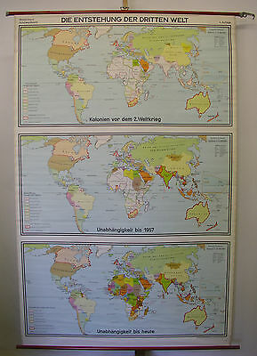 Schulwandkarte Beautiful Old World Map Third 136x210c Vintage 1974