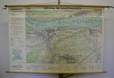 Schulwandkarte Wall Map Old Beautiful Bingen Rüdesheim 55 1/8x37 3/8in ~ 1955