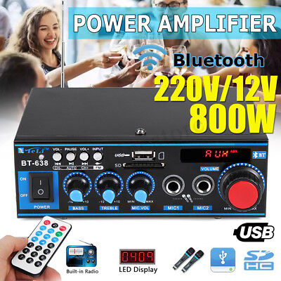 Car Home Mini HIFI Digital Bluetooth Stereo Audio Amplifier SD FM Radio Music