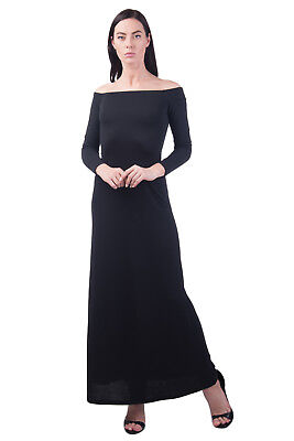 HALSTON HERITAGE Maxi Off Shoulder Dress Size 2 / XS Black 3/4 Sleeve RRP €629