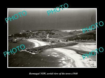 OLD LARGE HISTORIC PHOTO BERMAGUI NSW AUSTRALIA, AERIAL VIEW OF THE TOWN c1940 1
