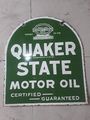 """Porcelain Quaker State Motor Oil Enamel Sign size 24"""" x 21"""" Inches Double Sided"""