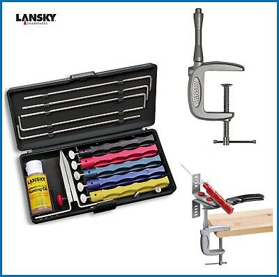 Lansky Deluxe Knife Sharpening System 5 Stone LKCLX Plus C Clamp LM010
